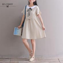 426be174726 2018 Summer Women Kawaii Cute Dress Mori Girl Peter Pan Collar Casual Loose  Female Elbise Short