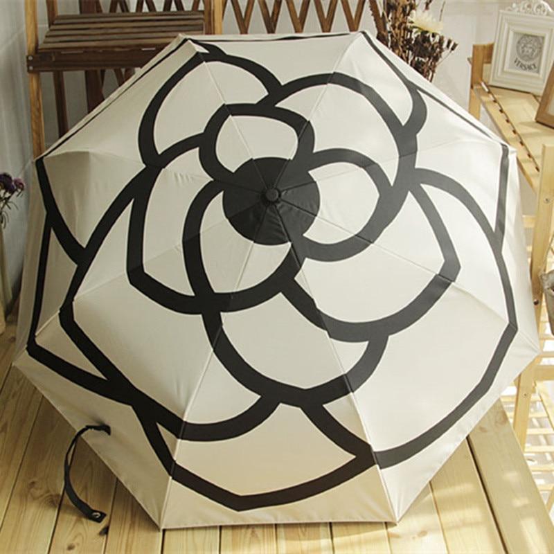 Image 2 - Luxury brands High Quality Camellia automatic umbrella rain women men folding UV sun transparent sunshade umbrellas-in Umbrellas from Home & Garden