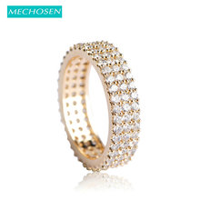 MECHOSEN Luxury Zircon Copper Wide Finger Rings For Women Men Three Lines Shiny Stones Aneis Gold Color Anillos Party Jewelry