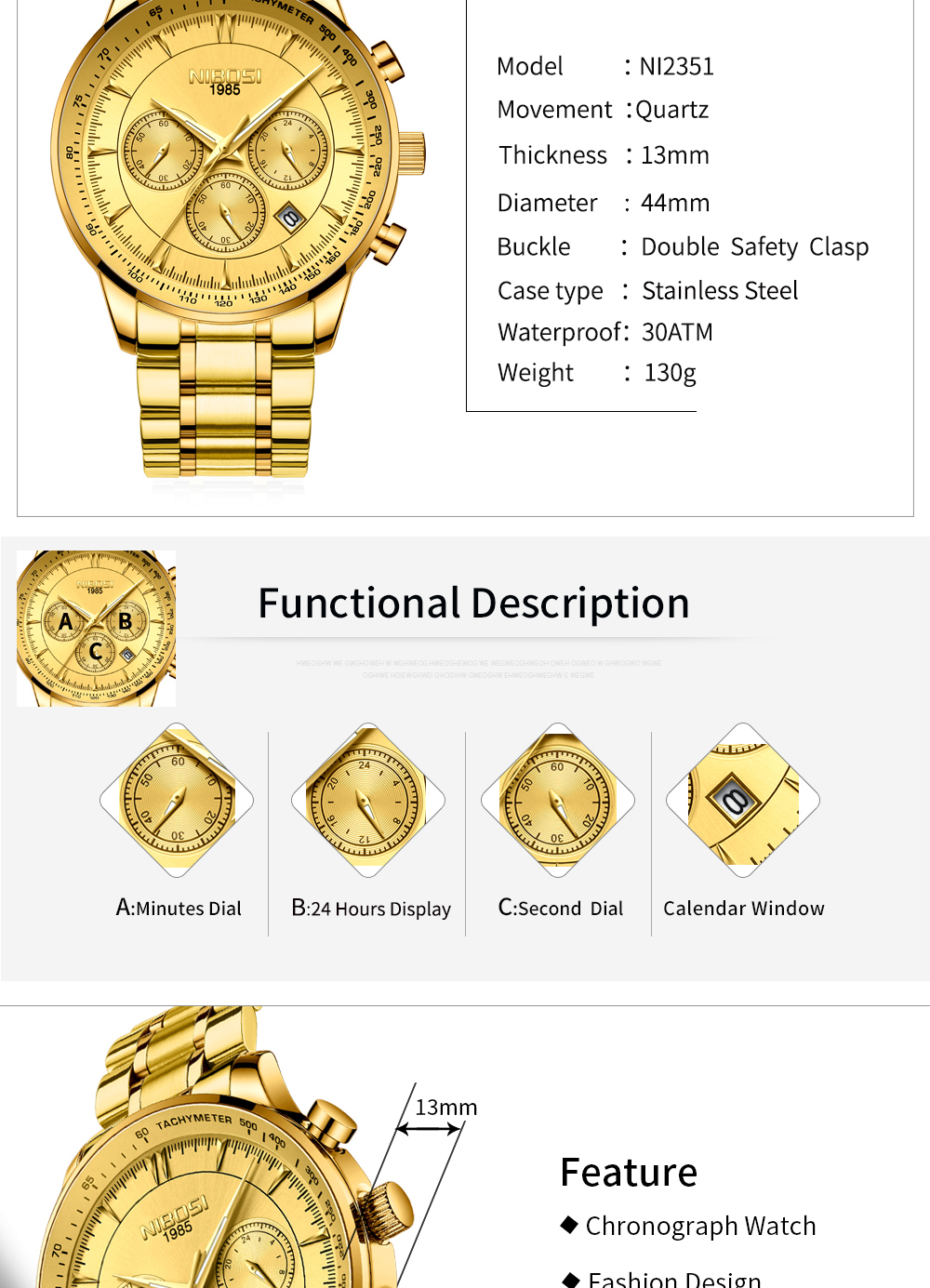 NIBOSI Gold Watch Mens Watches Top Brand Luxury Sport Men's Quartz Clock Waterproof Military Wrist Watch Relogio Masculino Saat 11