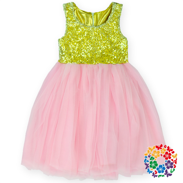 2014 Fancy Baby Dress Sequins Top With Chiffon For Girls