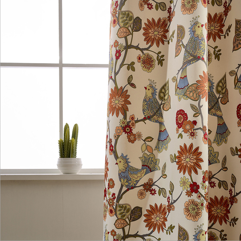 American Living Curtains Rustic Home Decor Birds Pattern Window Treatments  Printed Bedroom Drapes Single Panels (