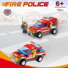 Hot city Heroes little fireman minifigures bricks mini Fire engine truck building block compatible with legos city for kids gift