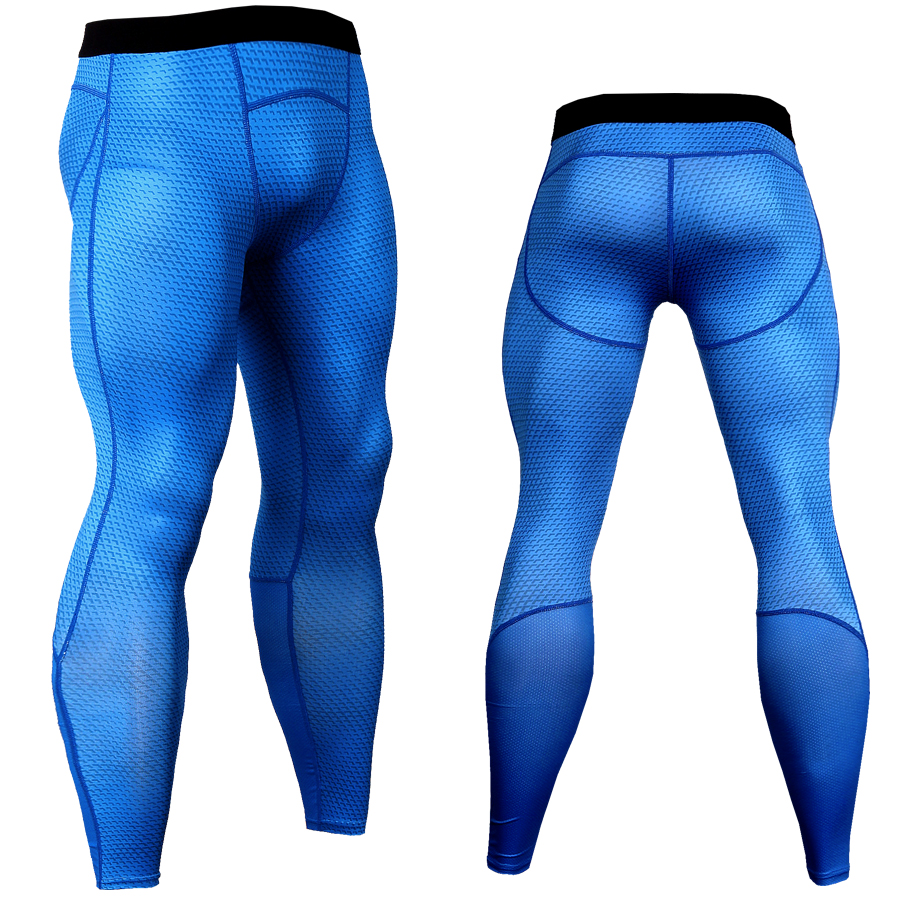 2018 High Quality Plaid Pants Men Compression Pant Cool Mesh Gear Spliced Leggings Tights Fitness Joggers Men Elastic Trousers