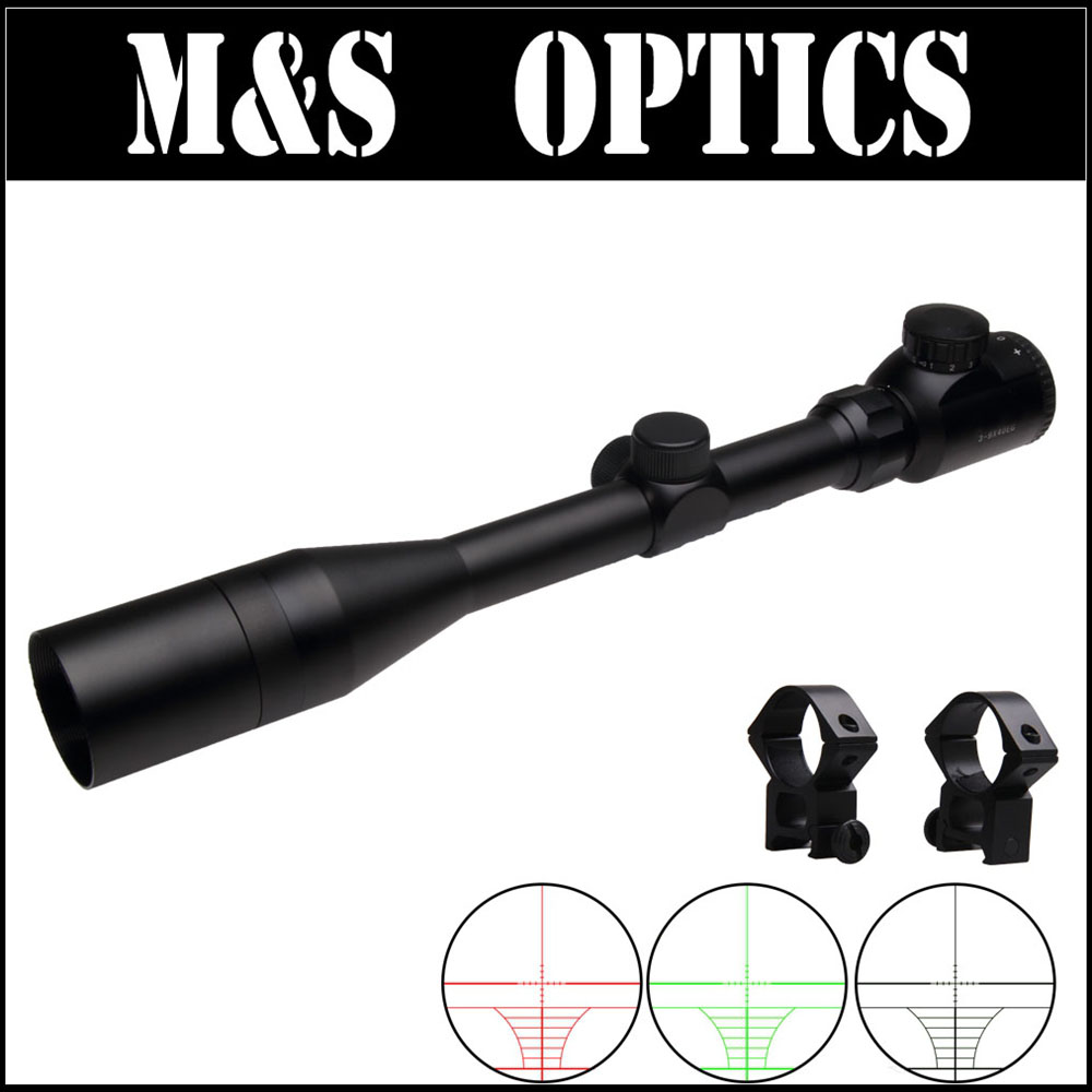 ФОТО 3-9X40 EG Red Green Dot Illuminated Riflescope Airsoft Air Gun Sight Optics With Scope Sunshade For Outdoor Hunting MadeIn China