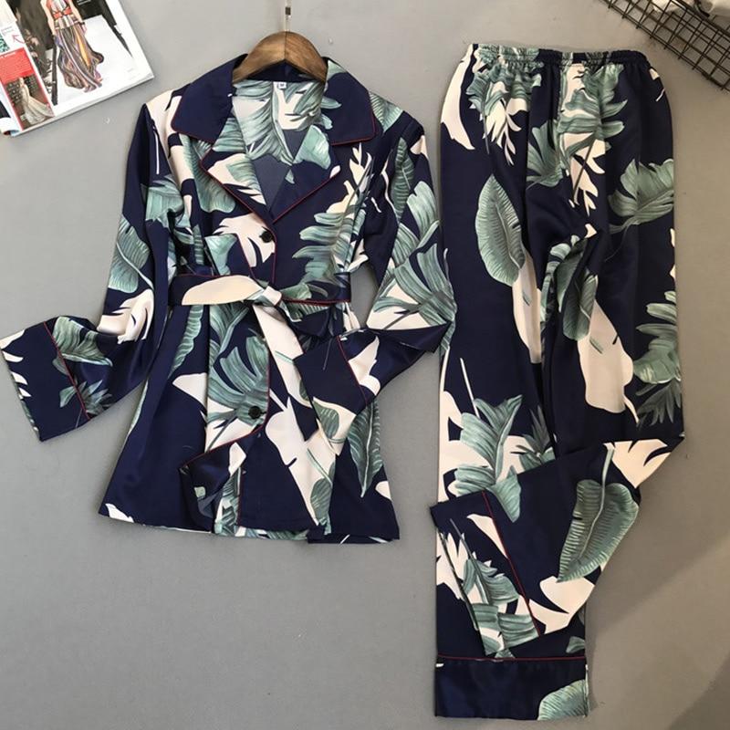 Floral Print Faux Silk Satin Women Pajamas Kimono Full Length Female Pajama Set Spring Autumn Fashion High Quality Woman Pyjamas