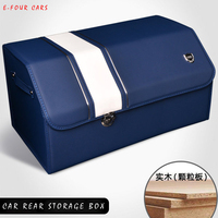 E FOUR Car Interior Accessories Rear Storage Box Genuine Leather Wood Board Stowing Tidying Mesh Trunk Organizer Storage for Car