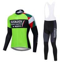 Spring autumn 2018 pro team euskadi cycling green jersey men long sleeve cycling cloth MTB cycling jersey cycling gel pad