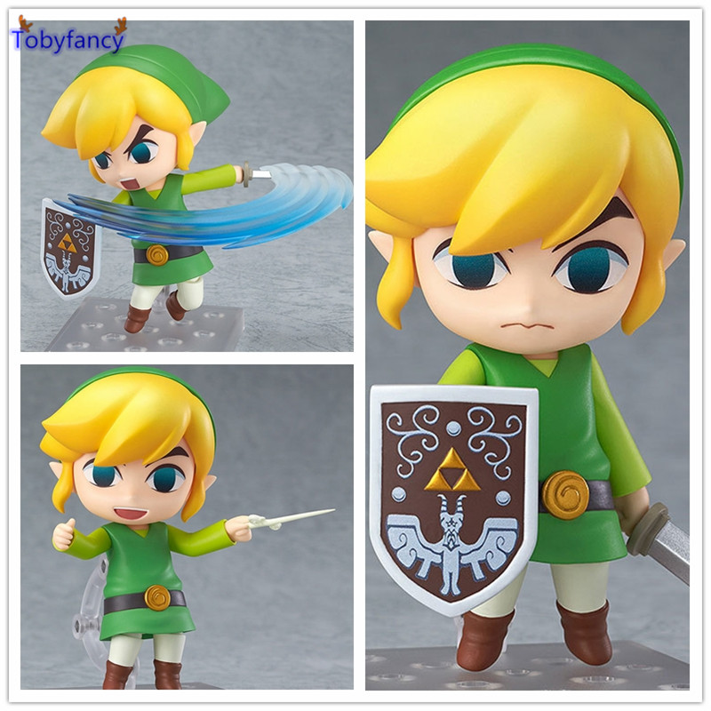 Tobyfancy The Legend of Zelda Link Nendoroid PVC Action Figure 10CM Q Ver. Zelda The Wind Walker Link Collectible Model Toys anime the legend of zelda 2 a link between worlds link figma 284 pvc action figure collectible model kids toys doll 10 5cm