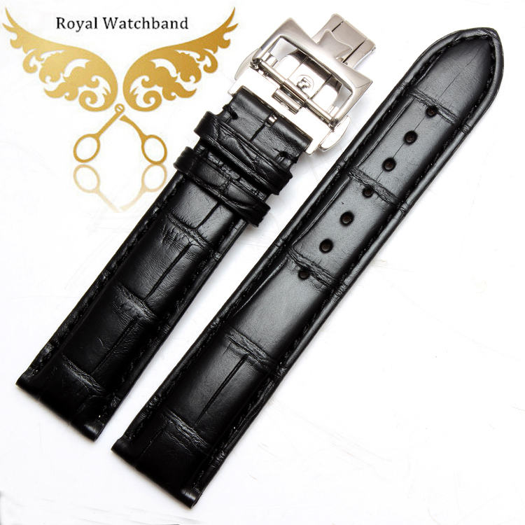 New Arrival!!! GENUINE BLACK ALLIGATOR,STAINLESS STEEL DEPLOYMENT CLAPS CROCODILE LEATHER SKIN WATCH STRAP BAND 20mm black 20 millimeters genuine lizard skin watch strap