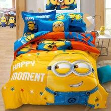 cartoon Minions banana bedding sets  king queen twin size cotton duvet cover sheet pillowcase 3pc/4pcs Linens set