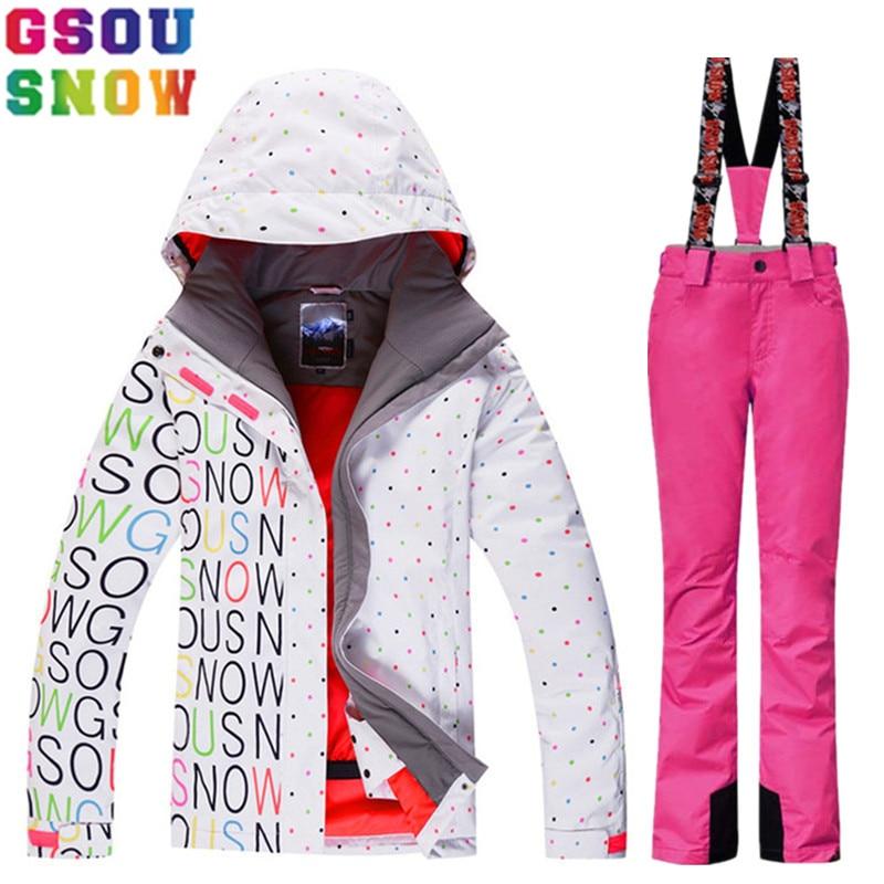 GSOU SNOW Brand Ski Suit Women Winter Ski Jacket Pants Waterproof Snowboard Jacket Pants Snow Sets Ladies Mountain Skiing Suit men ski brand snowboard costume skiing suit sets waterproof