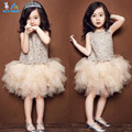 2017 New arrival Girls Dress Children Princess Party birthday gifts lace tutu dress veil Kids clothes Wedding Dress Free Ship