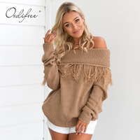 Ordifree 2017 Autumn Winter Women Jumper Long Sleeve Pullover Pull Femme Tassel Off Shoulder Female Black