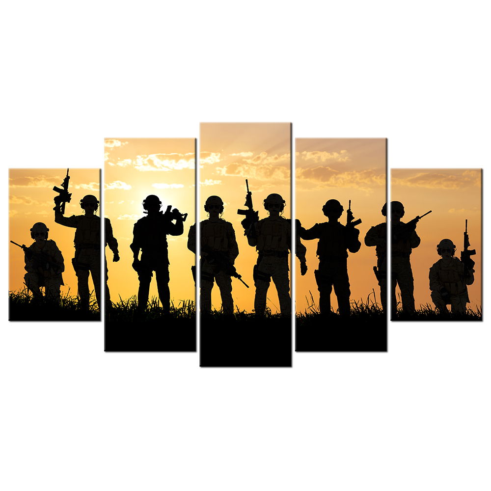 5 Piece American Soldiers Under Sunset Canvas Wall Art Military Family Poster Print Silhouette Of Troops Landscape Painting-in Painting & Calligraphy ...