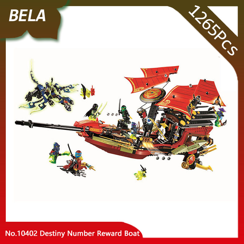 цены Bela 10402 1265pcs Ninja Series Destiny Number Reward Boat Building Blocks Set Bricks Classic Toys For Kids Birthday Gifts 70738