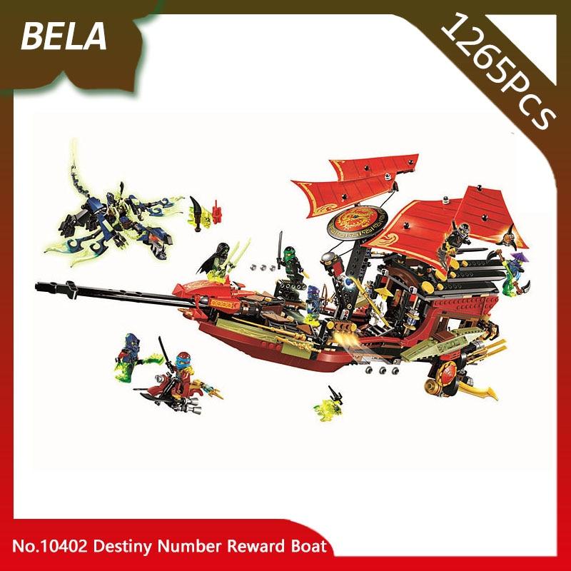 цены Bela 10402 1265pcs Ninja Series Destiny Number Reward Boat Building Blocks Set Bricks Classic Toys For Kids Birthday Gifts 70738