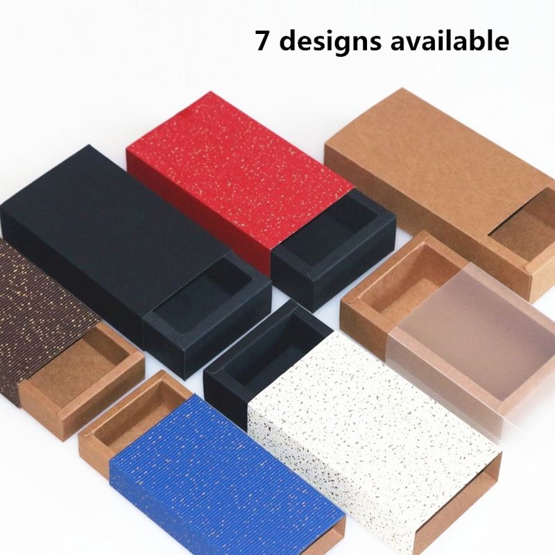 20pcs Colorful Cover Kraft Paper Drawer Boxes Wedding Party Candy Gift Box for Handmade Soap Craft Jewel Packaging