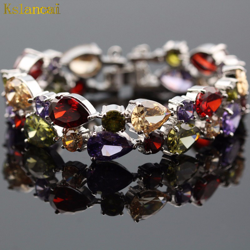LAN 2017 New Mona Lisa Style Silver Plated Jewelry Multicolor Red Garnet AAA Zircon Charm Bracelet For Women/ Wedding