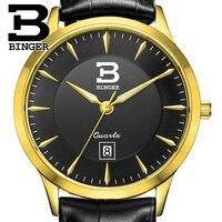 Relógio dos homens de luxo da marca suíça BINGER negócio relógio de quartzo Resistência À Água de aço inoxidável completa relógios de Pulso B3005M-6
