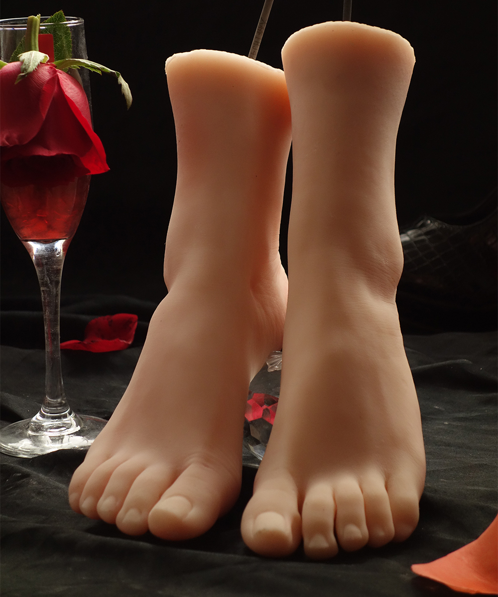 3710 Realistic One Pair Silicone Mannequin Dummy Foot ,Fake Model, Manikin Torso,Free Nail Stickers