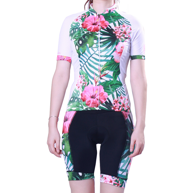 цены Floral Cycling Sets for Women Sportswear Short Sleeve Cycling Jersey Bike/Bicycle Clothing Anti-sweat Jersey Suit Ropa Ciclismo