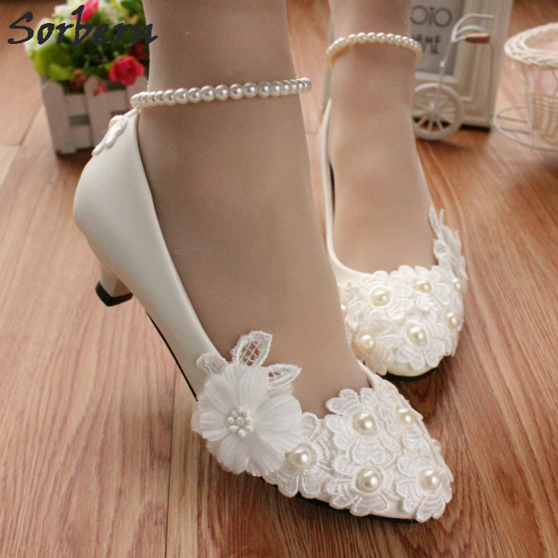 Sorbern Cute Flower Beads White Wedding Shoes Shiny Pu Ladies Bridal Shoes 3Cm Kitten Heels Pointed Toe Flowers Ladies Shoes cute round kitten beads necklace for women