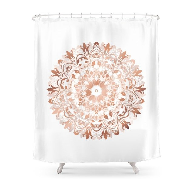 Rose Gold Floral Mandala Shower Curtain