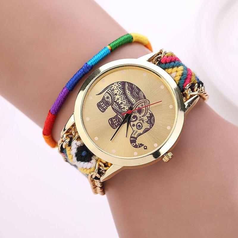 Relogio Masculino erkek kol saati reloj mujer watch Women Handmade Braided Elephant Bracelet Dial Quarzt Watches ladies watch