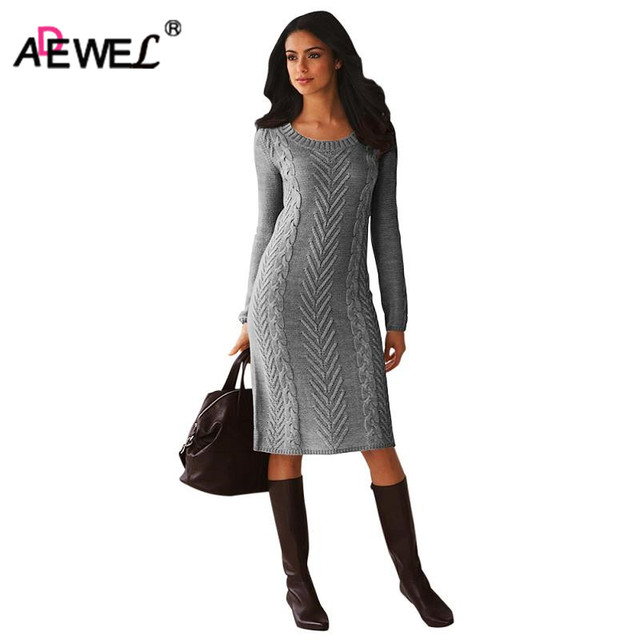 ADEWEL 2019 Spring Women Long Sleeve Bodycon Sweater Dress Casual Hand Knitted Midi Dress Elegant Inner Wear Womens Dresses
