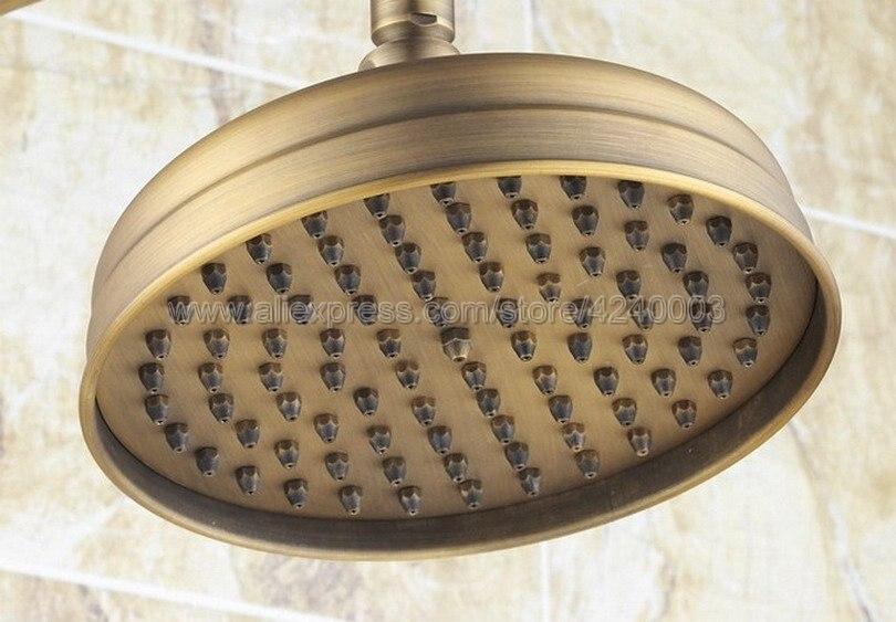 Antique Brass Rain Shower Set Faucet 8 Rainfall Shower Head W/ Hand Shower Spray Mixer Tap Wall Mounted Krs204