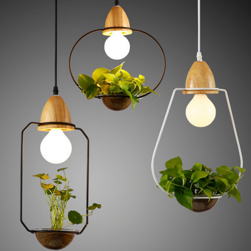 Art Deco Led Plant Pendant Light With Wood Base E27 Creative Rustic Pot Culture Hanging Lamp For Dining Room Cafe Bar Restaurant