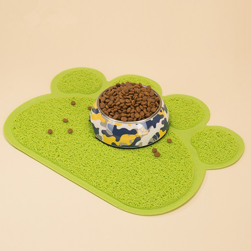 Dog Cat Paw Print Pet Litter Mat Puppy Kitty Dish Feeding Bowl Placemat Tray Tidy Easy Cleaning Sleeping Pad