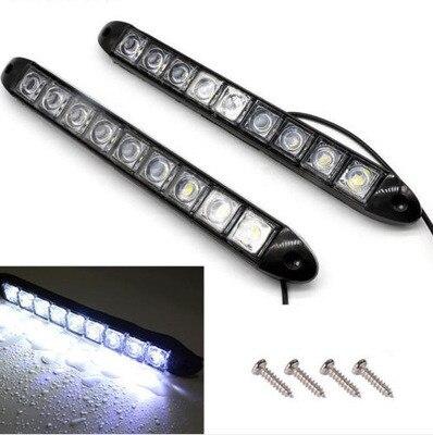 2X 9 LED Car Auto Daytime Running Light Decorative Flexible LED Strip 12V Fog Lights Car LED Waterproof Car LED Strip Light DRL