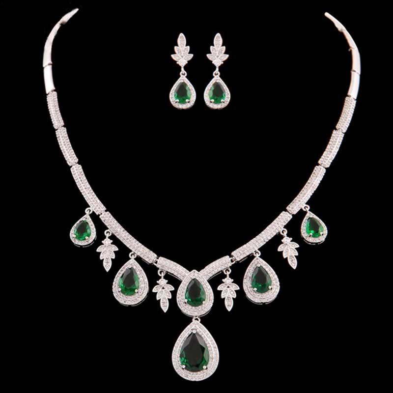 Moonso Luxury! 5 Colors Silver Jewelry for Women Wedding Party Austrian Leaf Earrings Pendant Necklace J2382 moonso 925 sterling silver jewelry for women wedding austrian earrings and necklace african j1057 ge4