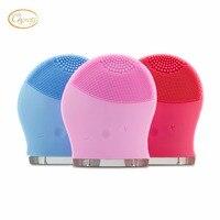 Venta caliente silicio eléctrico cepillo facial, masaje facial, cuidado de la piel portátil limpiador en azul, rosa y azul