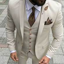 Beige Groom Tuxedos Slim Fit Men Suits for Wedding Man Blazer Notched Lapel 3Piece Latest Coat Pants Designs Jacket