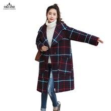 Hot Selling Wool Coat Female Long Lattice Woolen Cloth Overcoat 2018 Autumn Parka Fashion Loose Lapel Plaid Outerwear OK97T