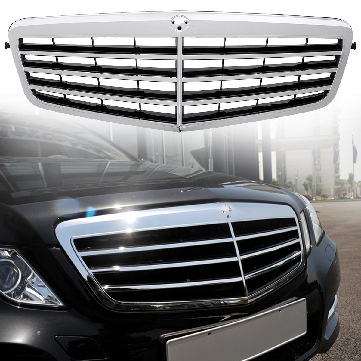 Chrome Auto Front Grill Grille Mesh For Mercedes Benz B: Chrome Black Front Bumper Upper Hood Mesh Grill Fits For