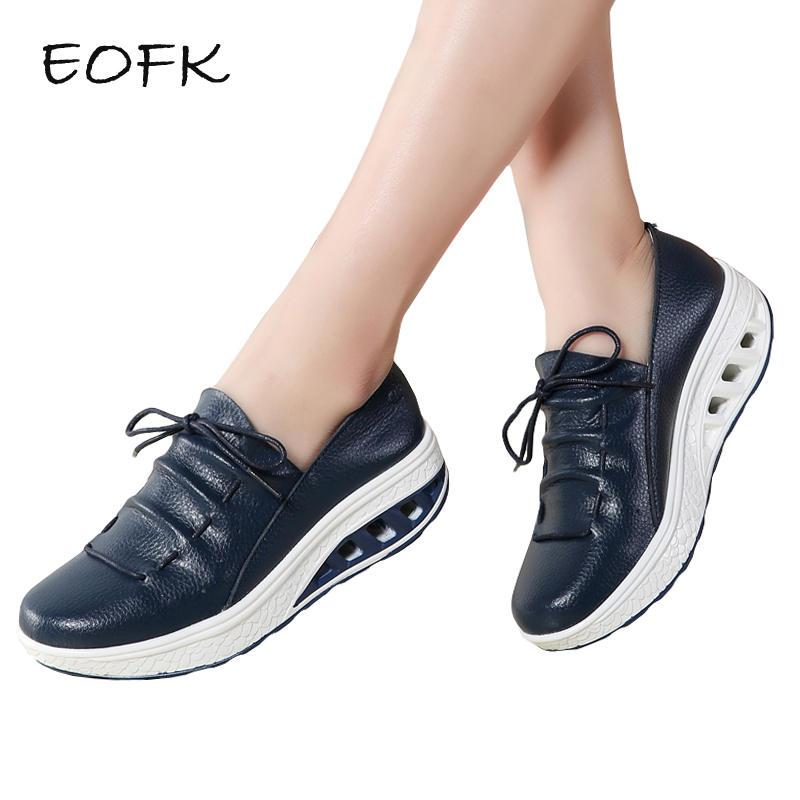 EOFK New Handmade Butterfly Knot Women Flat Platform Leather Moccasin Shoes Woman Slip On White Shoes Casual Flats Moccasins