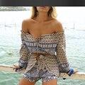 Playa bohemia top + traje de pantalones cortos de verano de las nuevas mujeres de dos juegos de playa tropical vacaciones viento traje de impresión de las señoras