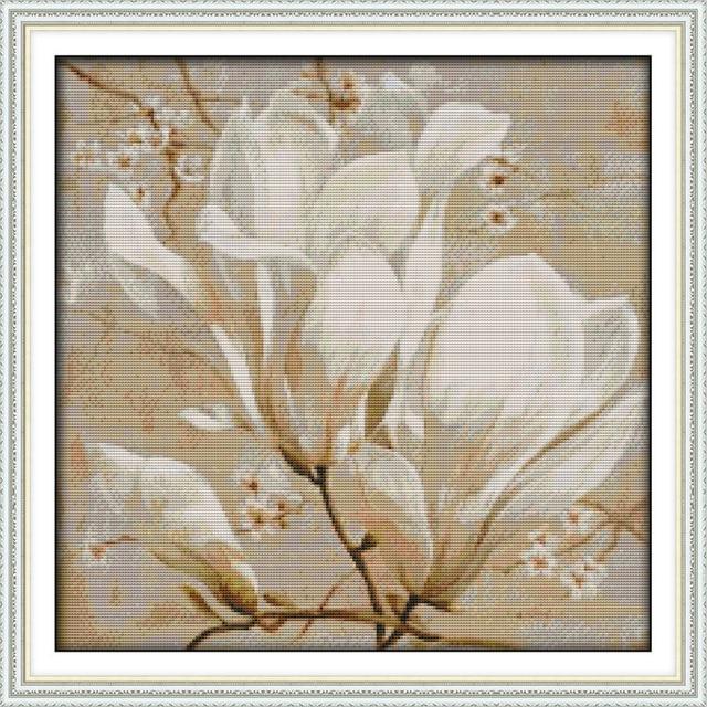 Красивый цветок магнолии канва DMC рассчитывал китайской вышивки крестом Наборы печатное набор крестиком Вышивка рукоделие