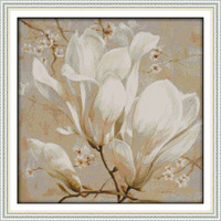 Beautiful Magnolia Flower Printed Canvas DMC Counted Chinese Cross Stitch Kits Printed Cross Stitch Set Embroidery