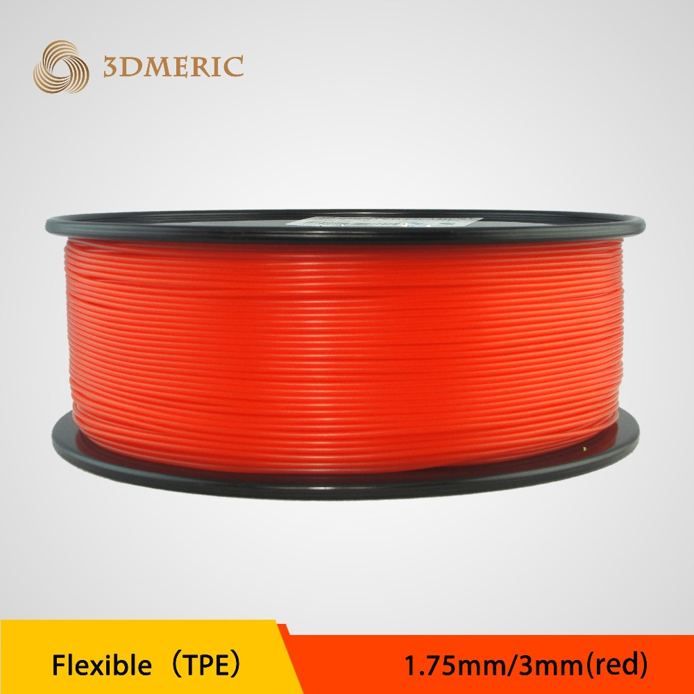 WholeSale Price High Quality 3d printer filaments TPE 1.75mm/3mm Plastic printer Filament double color m6 3d printer 2017 high quality dual extruder full metal printers 3d with free pla filaments 1set gift