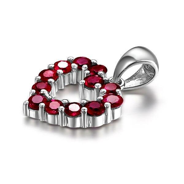 Подарок для женщин GVBORI 18 K белая Золотая подвеска с рубином ожерелье с драгоценными камнями Кулон [розовое сердце] ювелирные украшения сертификат Святого Валентина