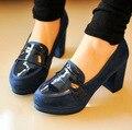 2016 Симпатичные Новая Девушка Япония Академия школьная форма обувь круглый Носок студент косплей JK обувь Черный/Синий/Вино