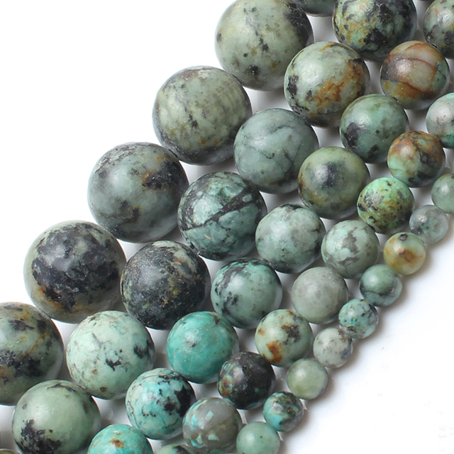 Natrual Stone Beads African Turquoise Stone Round Beads For Jewelry Making Brace