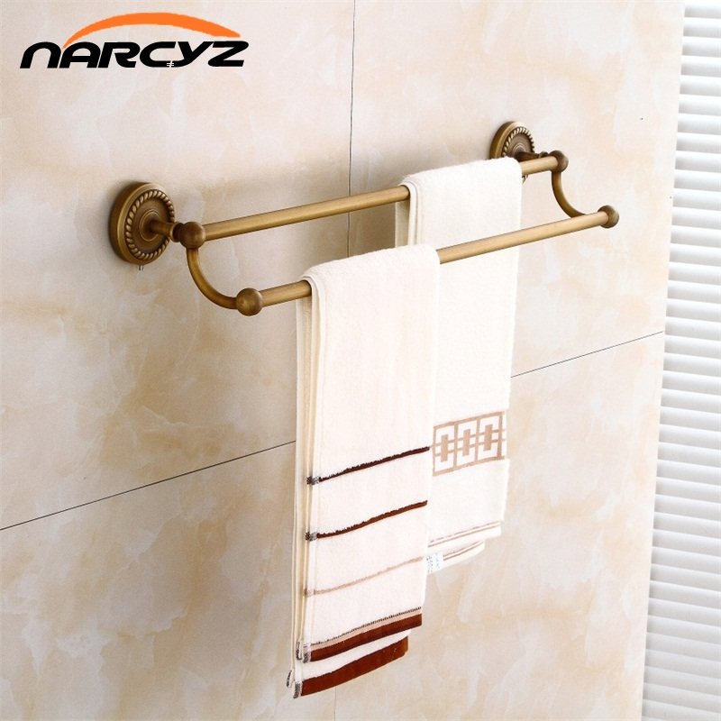 Towel Bars Double Rails Brass Wall Shelves Towel Holder Bath Shelf Towel Hanger Bathroom Accessories Black Towel Rack 9147K bathroom shelves 5 towel hooks brass 2 tier rails towel bars wall shelf bath hangers bathroom accessories towel holder fe 8601