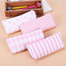 1PC School Pencil Bag Pencil Pouch Fresh Pink Stripe Series Pen Bags Office Stationery Canvas Pencil Case