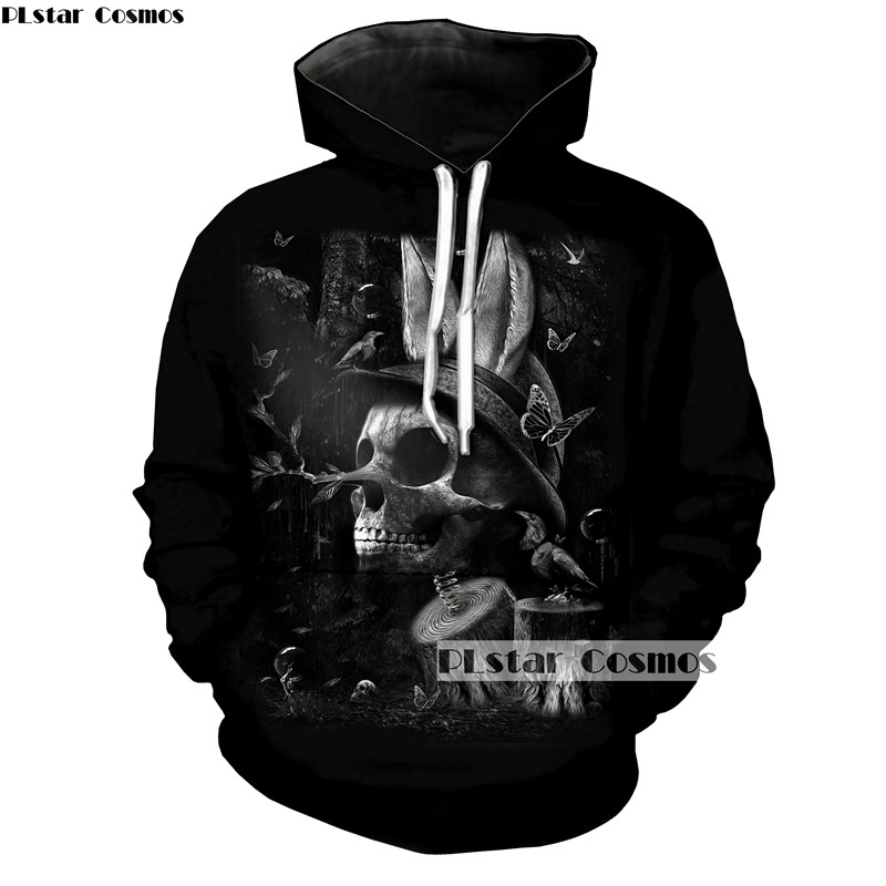 PLstar Cosmos Horror Deaths Skull Painting Hoodies Men/Women Sweatshirt With Hat Terror Skull Sportswear Funny Streetwear Tops